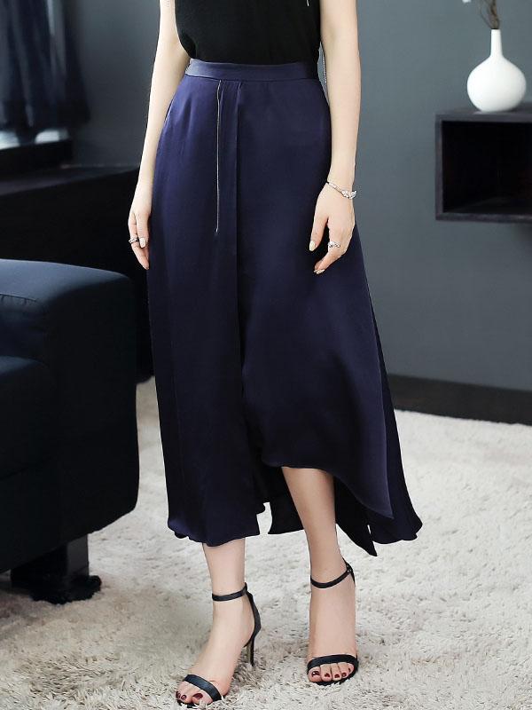 玉云裳女装不规则开叉遮肚中长款裙子 2018欧洲站精品气质半身裙 5123