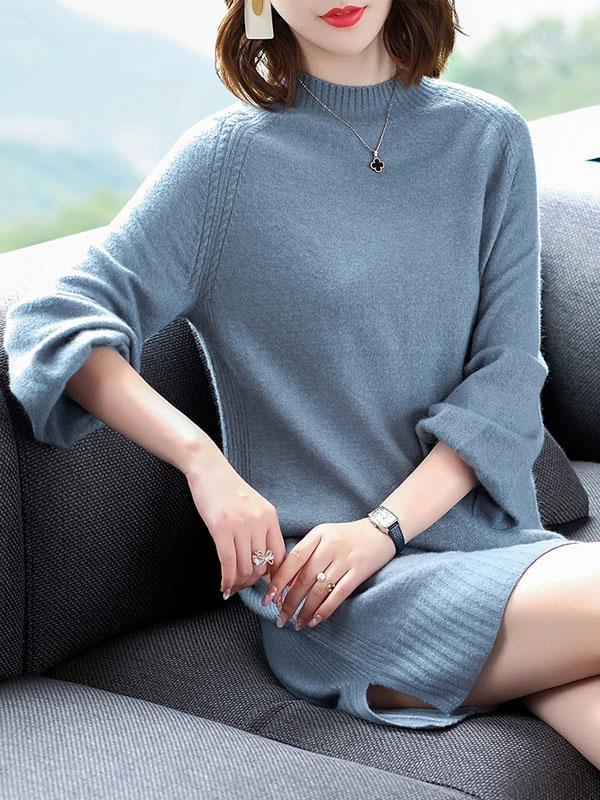 2018秋冬新款时尚女装修身显瘦长袖包臀针织连衣裙开叉毛衣打底裙 1559