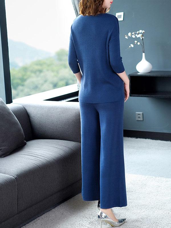 时尚气质女装针织套装抽绳圆领修身上衣+系带高腰阔腿裤两件套女 1541