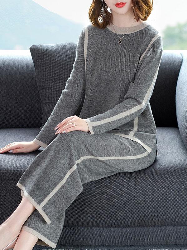 新款圆领长袖上衣系带宽松阔腿裤针织两件套女 1542