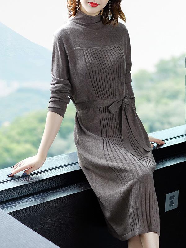 2018秋装新款系带收腰针织连衣裙长袖纯色毛衣裙大码女装中长裙子 N713
