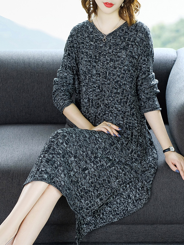 秋装女2018新款不规则针织裙过膝宽松大码中长款毛衣女长袖打底裙 N712