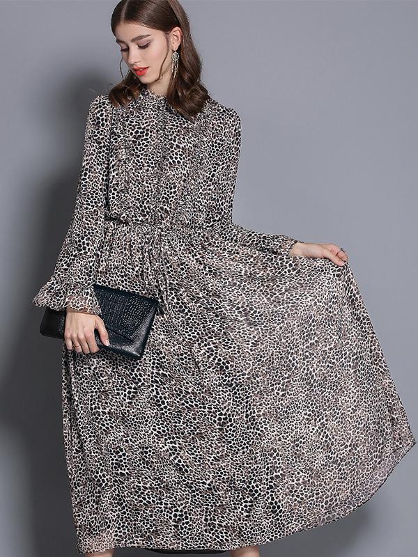 2019新款春夏女装乔其木耳领修身印花连衣裙喇叭袖收腰中长款裙子   7503