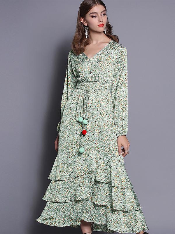 2019春装新款女装缎面碎花荷叶边V领灯笼袖连衣裙收腰显瘦中长裙  1584