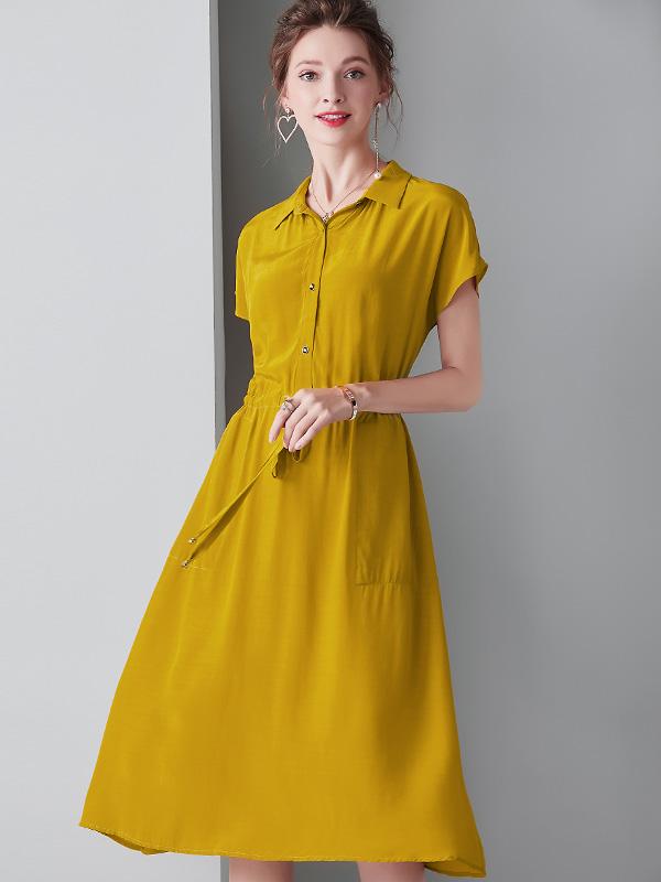 913046 高端女装2019夏装休闲连衣裙蝙蝠袖系带收腰A字裙中长裙子