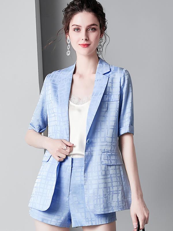 时尚女装夏季新款方块格子翻领短袖西装西服短裤气质套装女910007