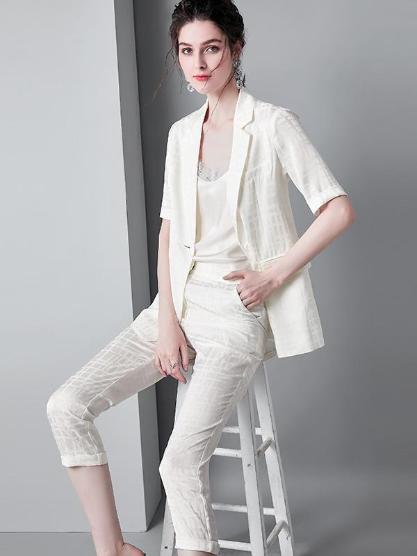 910008 夏季新款西装领时尚百搭显瘦气质款格子套装西装