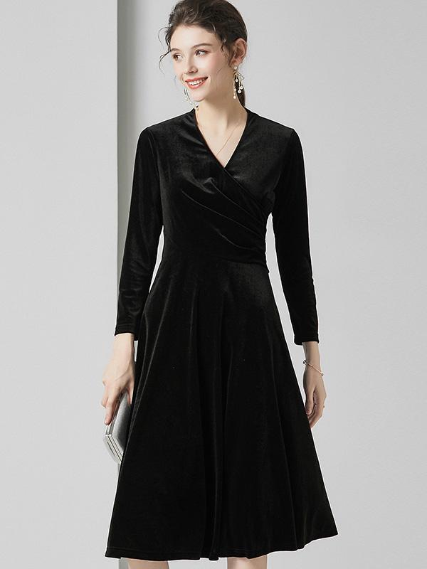 623009 法式复古气质女装交叉V领丝绒裙 纯色长袖弹力