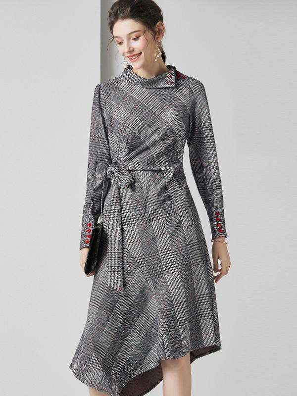 623010 欧货复古气质修身千鸟格连衣裙 褶皱绑带收腰不规则裙秋冬