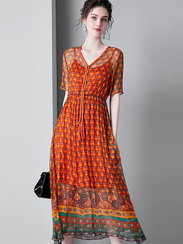 913035大码女装V领印花波西米亚连衣裙收腰真丝沙滩裙中长款A字裙