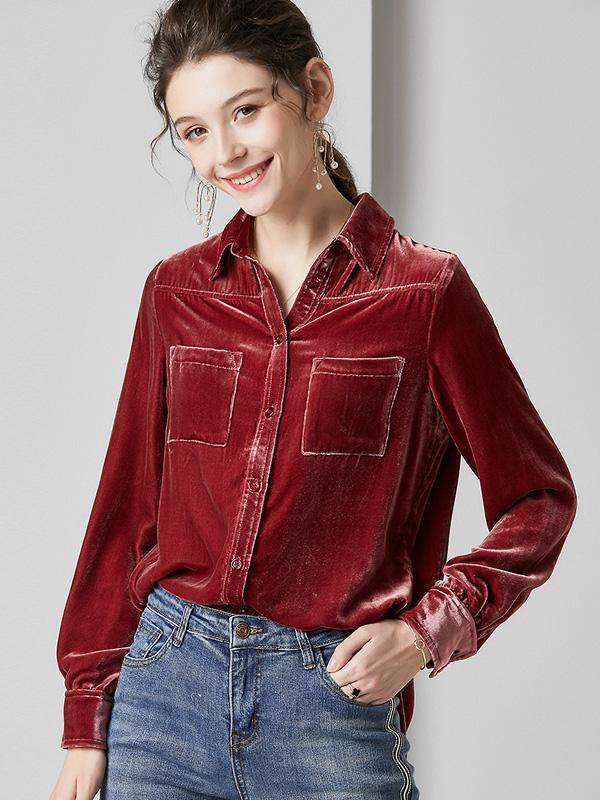 624081 欧货复古工装风真丝绒衬衫 时尚优雅翻领大口袋桑蚕丝上衣