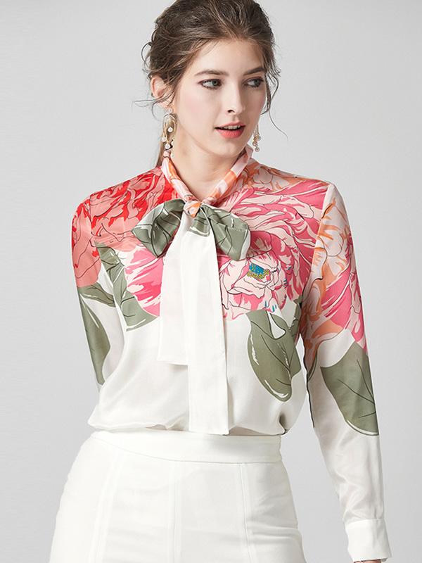 624068 欧美时尚气质长袖真丝衬衫 飘带蝴蝶结印花衬衣桑蚕丝上衣
