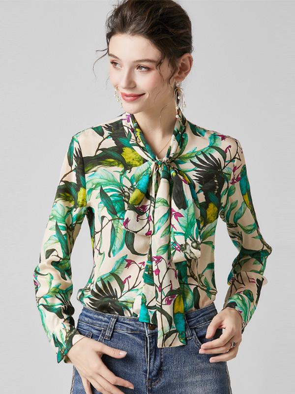 924126 中国风花鸟印花真丝衬衫 系带蝴蝶结长袖宽松桑蚕丝衬衣