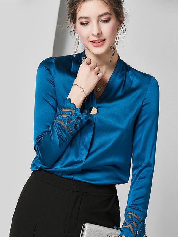 624070 欧美高端轻奢新款重磅真丝衬衫 镂空长袖V领桑蚕丝上衣女
