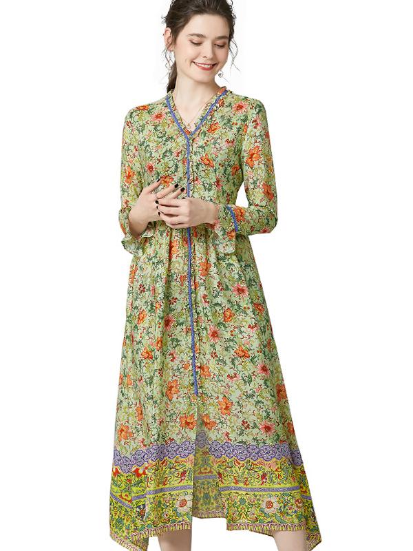 623026 欧货时尚小碎花真丝连衣裙 长袖高腰衬衫裙桑蚕丝度假裙子