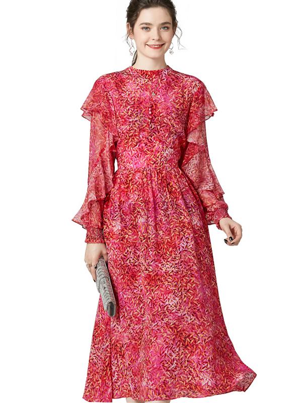 623025 欧美女装印花真丝连衣裙 荷叶边长袖松紧腰桑蚕丝度假裙子