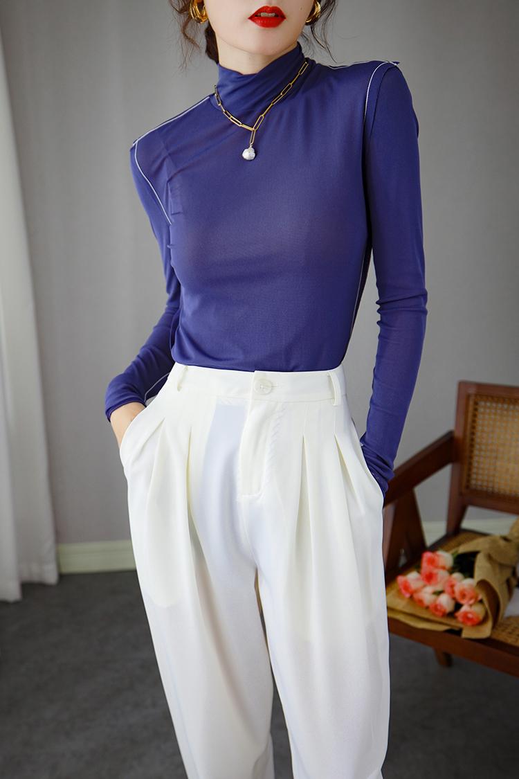 半高领弹力打底衫女长袖 034049欧货小衫秋装新款时尚修身纯色t恤