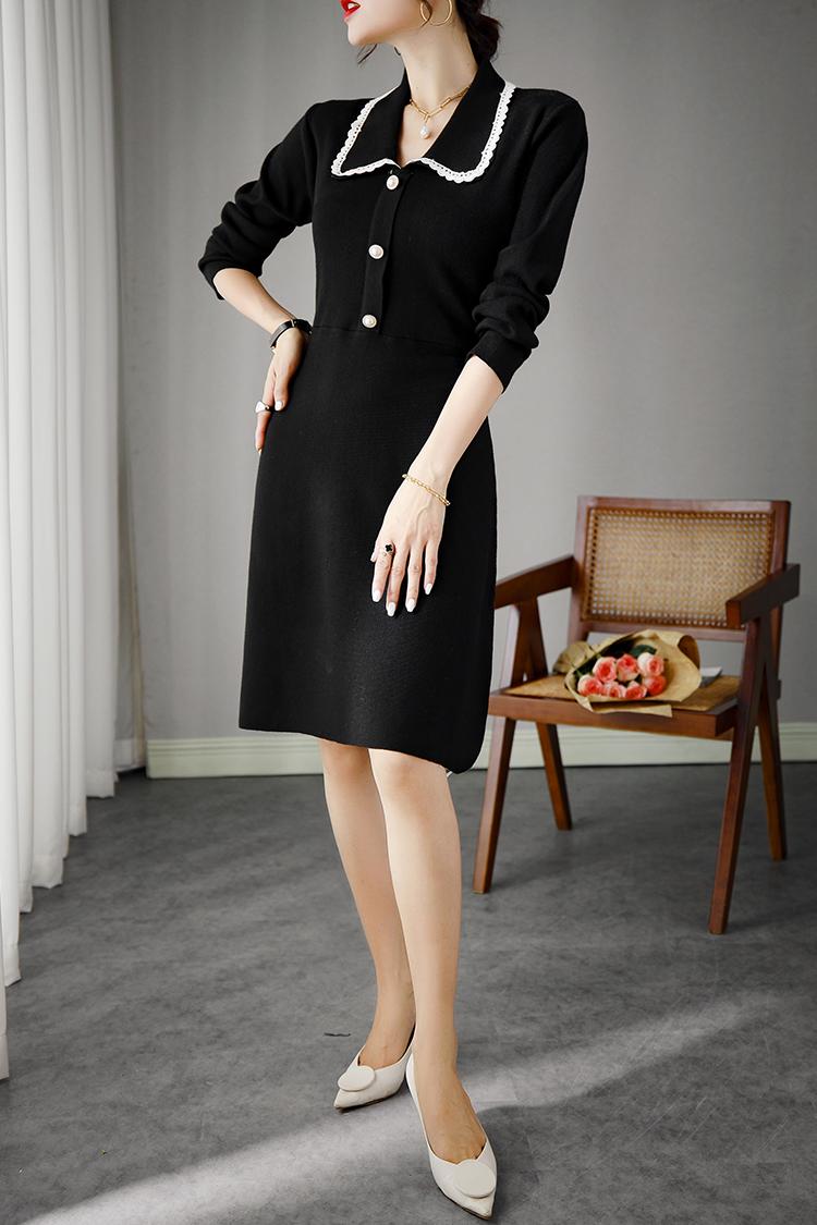 2020秋冬新款针织连衣裙 033006气质小香风娃娃领长袖修身打底裙