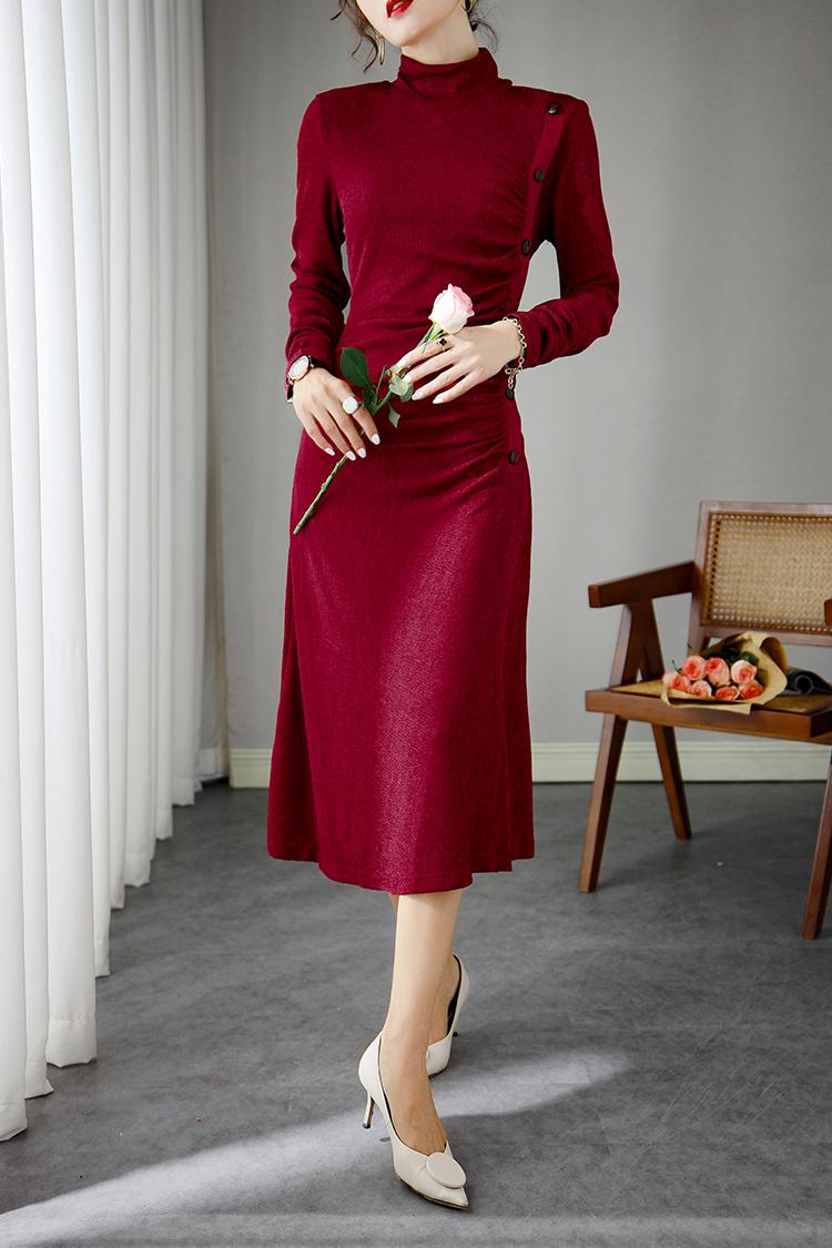 欧货气质名媛针织连衣裙秋 623011设计感抽褶高领长袖修身毛衣裙