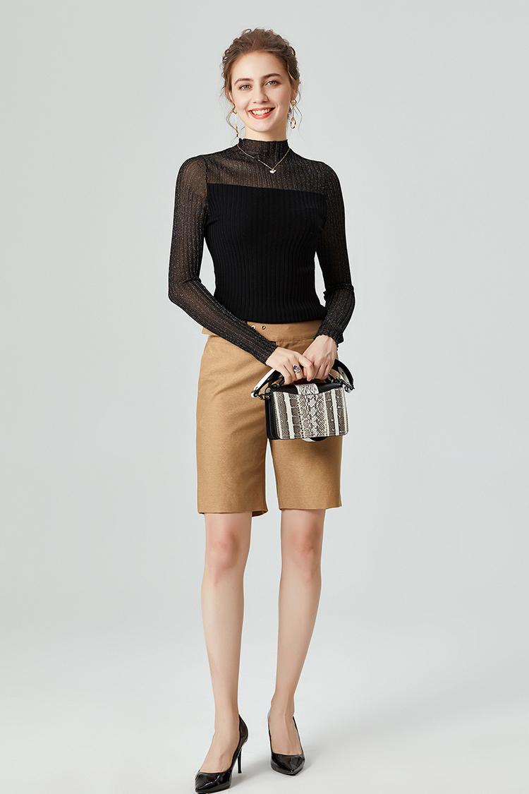 针织打底衫女上衣薄款100纯羊毛衫 037008时尚半高领长袖修身毛衣
