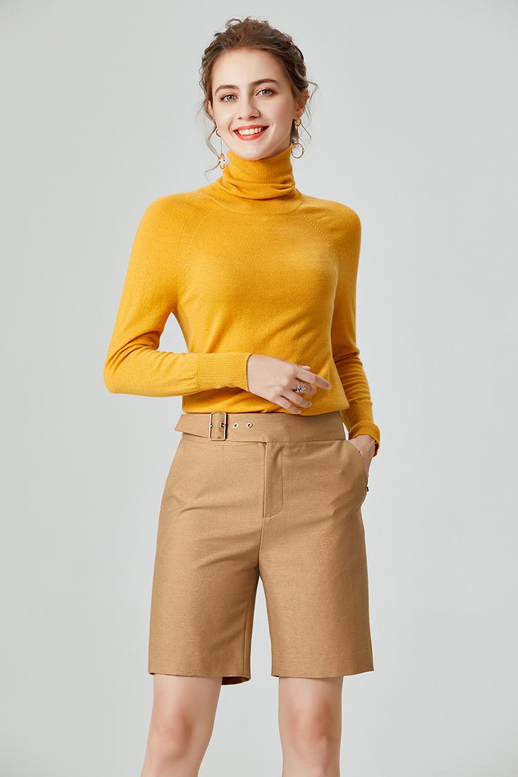 100纯羊毛堆堆领毛衣女 037013修身长袖针织衫纯色保暖秋冬打底衫