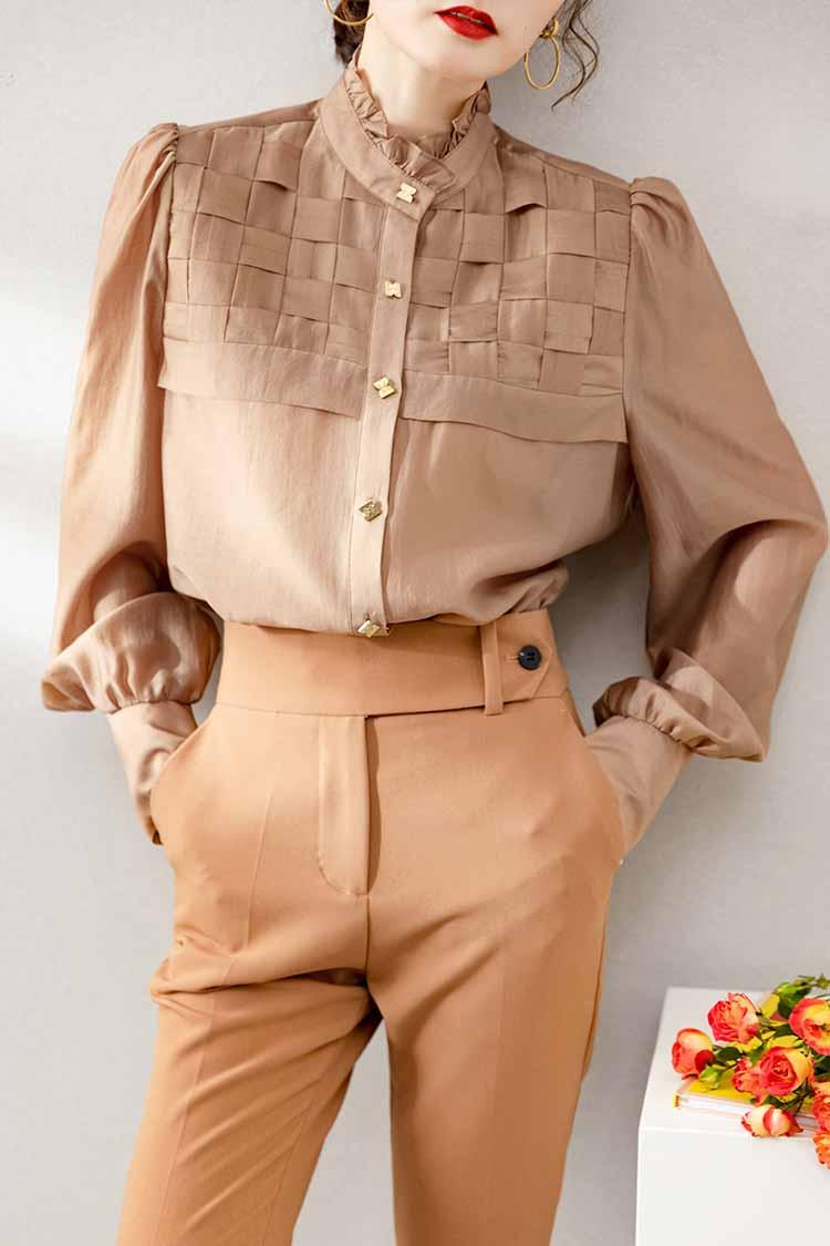 2021新款木耳边立领宽松上衣 034189设计感编织百搭长袖天丝衬衫