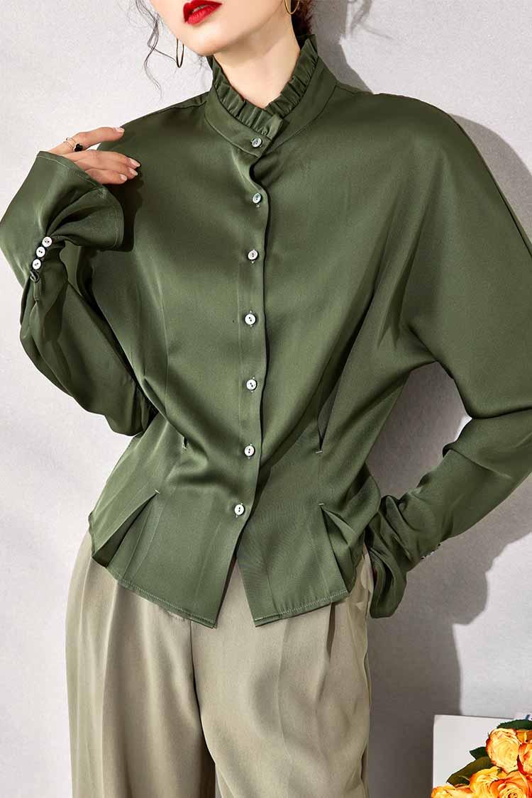 2021春季木耳边立领真丝衬衫女新款 034192纯色长袖束腰气质上衣