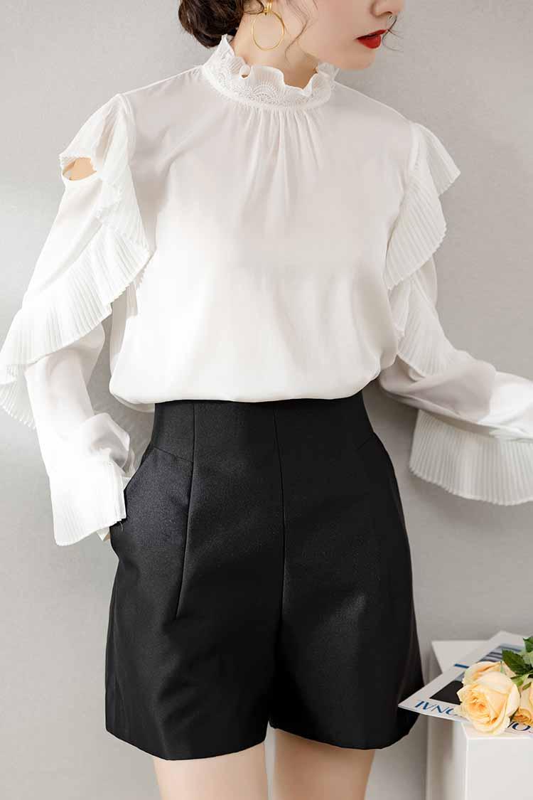 2021新款轻奢重磅真丝衬衫 034193名媛百褶荷叶边长袖桑蚕丝上衣