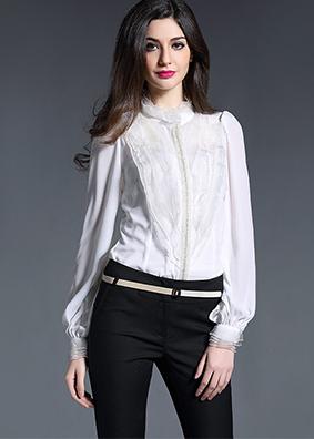 2017夏装高端欧美水晶链女式长袖衬衫修身荷叶边真丝立领上衣衬衣 2374