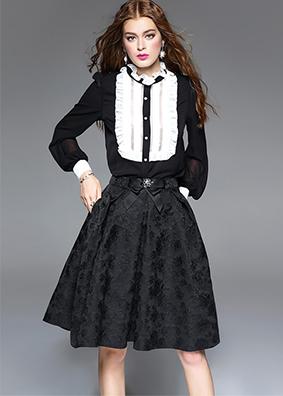 专柜品牌女装2017春装新款真丝衬衣黑白拼接珍珠扣木耳领衬衫上衣 3426
