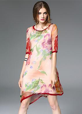 2017夏季新款品牌专柜真丝连衣裙欧美不规则高档桑蚕丝中裙子女装 8068