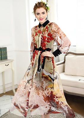 中国风定位印花衬衫长裙透视轻薄天丝连衣裙 4939