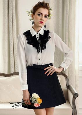 2018春装新款欧美时尚女装精品上衣爆款长袖白色衬衣 4839