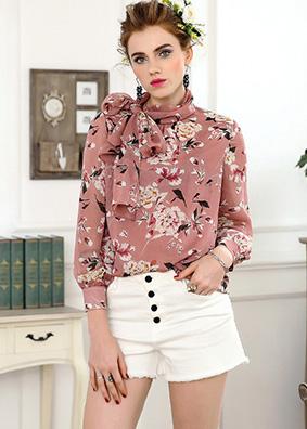 长袖衬衫女2018春季新款欧洲站时尚精品女装连身领带衬衣印花上衣 4843