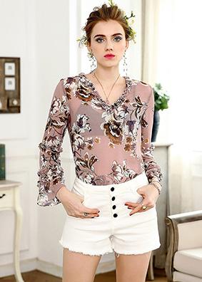 印花衬衫女春季新款欧美时尚女装乔其丝荷叶边上衣七分喇叭袖衬衣 4941