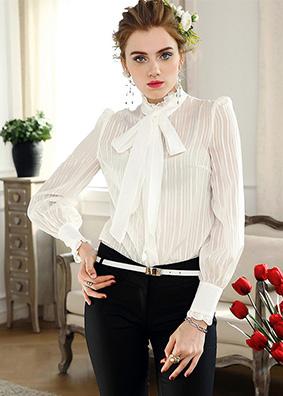 欧美高端真丝衬衫女长袖2018早春新款女装原创设计条纹衬衣 4933