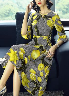 玉云裳夏季新款女装郁金香印花不规则裙 喇叭袖仿真丝连衣裙1288