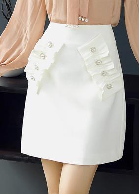 玉云裳新款女装钉珠时尚高腰a字裙白色百搭短裙 2018女夏装半身裙 4998