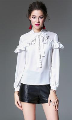 原创衬衫女2018春季新款欧美品牌女装荷叶边上衣木耳边长袖衬衣女  4932