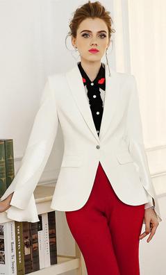 玉云裳2018春装新款欧洲站女装荷叶边喇叭袖上衣 一粒扣西装外套  4994