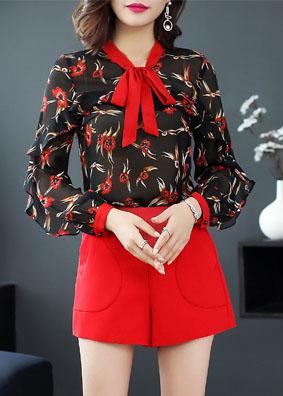 玉云裳2018新款夏季欧洲站亚马逊女装轻薄上衣衬衣印花长袖衬衫女 4968