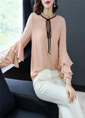 玉云裳高端女装2018夏季新款气质喇叭袖系带衬衣 纯色衬衫女上衣 4965