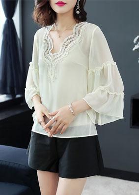 云裳2018新款欧洲站女装上衣七分喇叭袖衬衣原创绣花雪纺衬衫女 4913