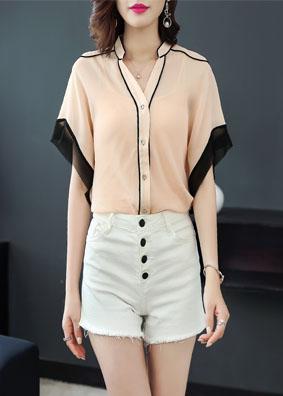 玉云裳精品女装V领宽松上衣气质衬衣 2018夏季连身袖短袖衬衫女 4588