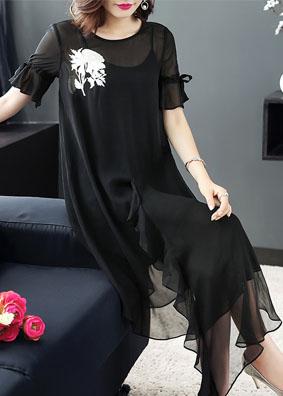 玉云裳女装2018新款精品绣花真丝连衣裙桑蚕丝时尚不规则中长裙子 6001