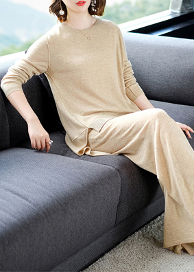 2018女装秋冬新款时尚气质针织套装长袖羊毛上衣宽松阔腿裤两件套 1525