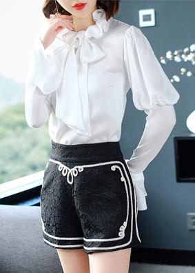 2018女装欧洲站宫廷风长袖衬衫女上衣木耳领喇叭袖衬衣女秋装新款 5157