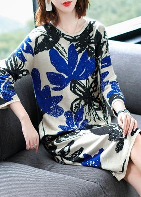 2018秋装新款时尚气质针织连衣裙中长款长袖打底裙大码宽松毛衣裙   N73029