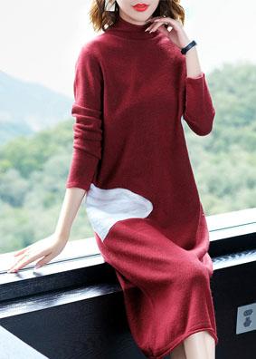 欧美时尚女装2018新款长袖过膝针织连衣裙秋冬撞色拼接A字毛衣裙 N009