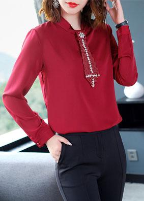 2018新款女装纯色职业通勤衬衣女手工钉珠立领衬衫女长袖秋装上衣 1568